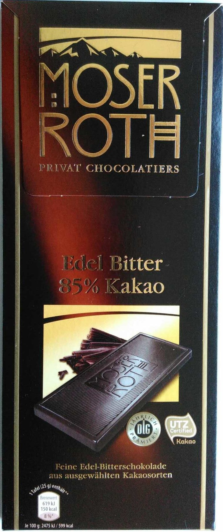 Moser Roth Edel Bitter 85% cacao 125 g