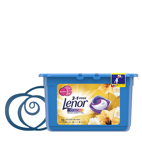 Lenor 3-in-1 PODS Colorwaschmittel Goldene Orchidee 12d