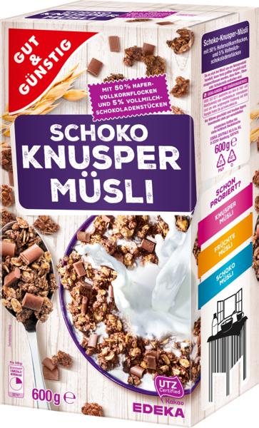 Knusper müsli Schoko-Křupavé müsli čokoládové (Křupavé müsli čokoládové 600g)