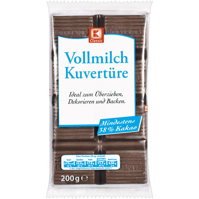 Vollmilch Kuverture,čokoláda na vaření - mléčná, 200g