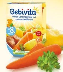 Bebivita jemná zahradní zelenina s hovězím masem, od 8. měsíce